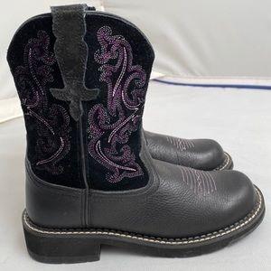 Ariat Fatbaby II black/purple western boots 7